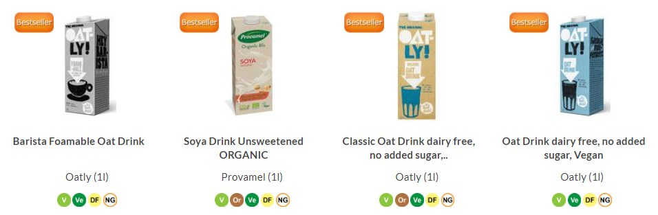 buy all your dairy-free milk alternatives online at Real Foods